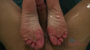 Chloe works you good with her feet, and you cum on her face.